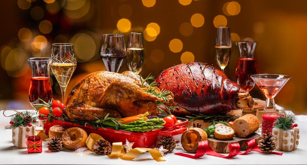 Christmas turkey and ham