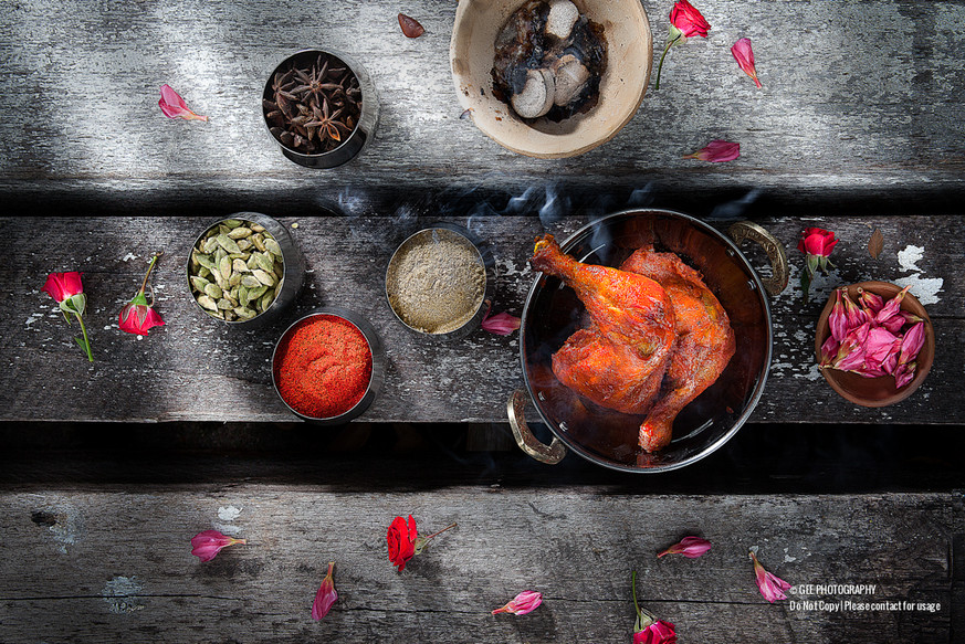 Tandoori chicken food photography by Gee Photography