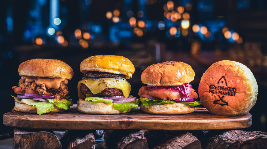 Assorted burgers food photography by Gee Photography