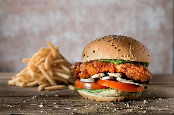 Yummy crispy chicken burger food photography by Gee Photography