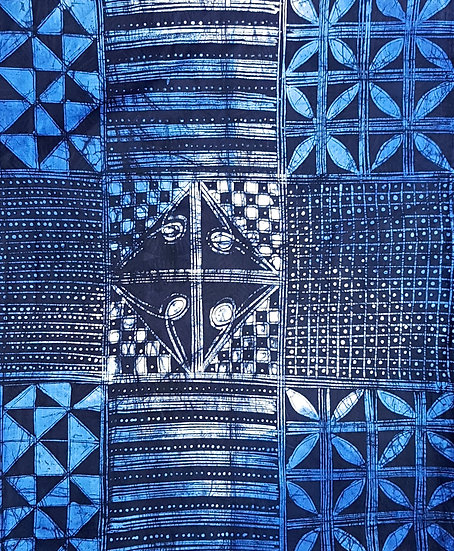 Adire Batik on Cotton (Blue)