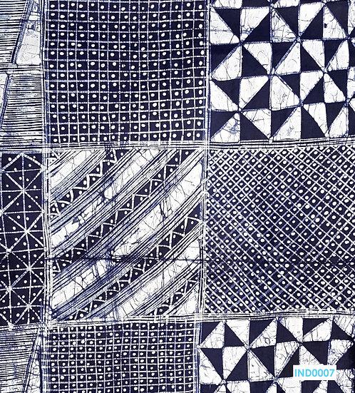 Adire Batik on Cotton (Dark Indigo)
