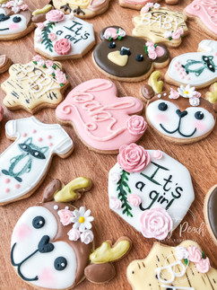 Woodlands themed royal iced biscuits- babyshower- dessert table