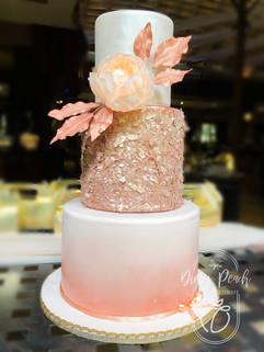3 Tier rose gold wedding cake