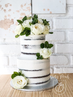 2 Tier Naked cake with fresh roses