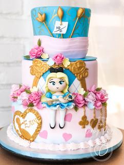 Alice in wonderland themed birthday cake- fondant cake