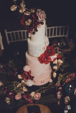 Burgundy wedding cake-moody wedding cake
