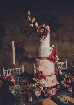 Burgundy wedding cake with sugar flowers