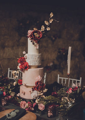 Ganache wedding cake with sugar flowers