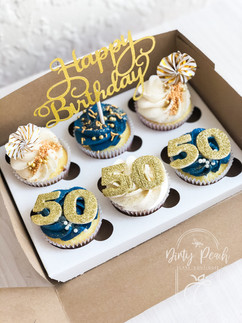 50th Birthday inspired cupcakes with lazer-cut toppers