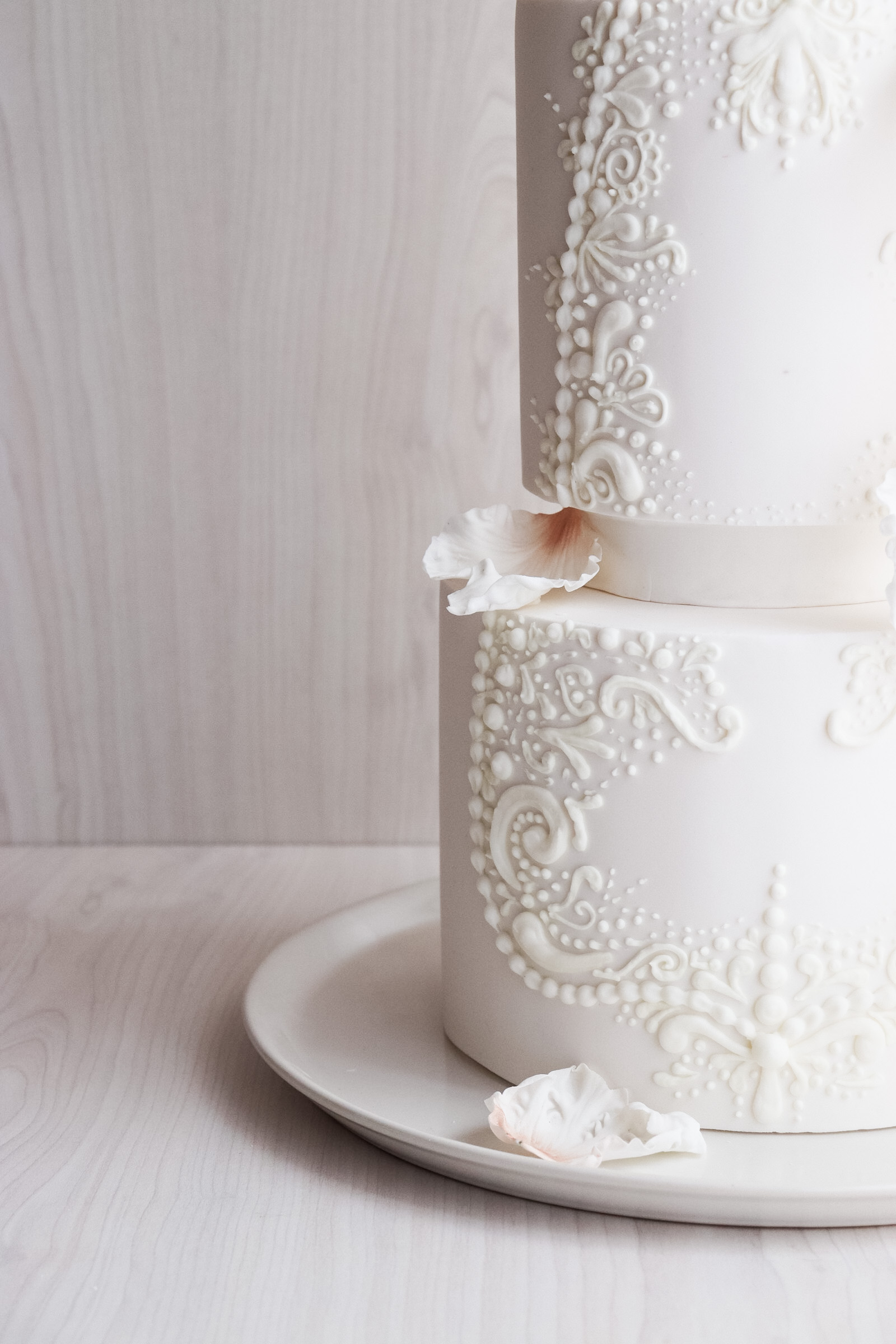 White wedding cake- hand piping