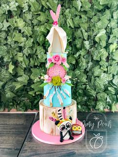 3 Tier boho themed birthday cake