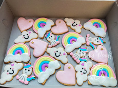 Unicorns and Rainbows themed royal iced biscuits