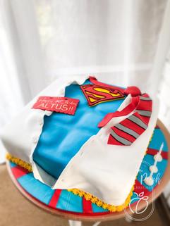 Superman sculpted cake