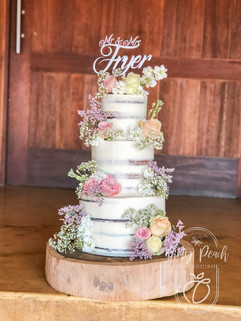 3 Tier naked wedding cake with fresh flo