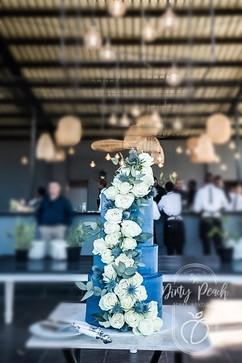 Buttercream wedding cake with fresh flow