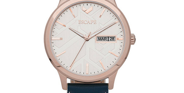 Signature Three Hand Day Date Leather Watch | Blue