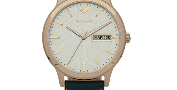 Signature Three Hand Day Date Leather Watch   Green