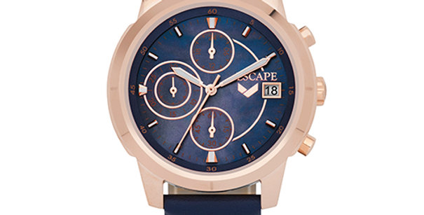 Oasis Chronograph Leather Watch | Blue