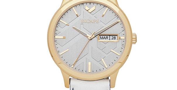 Signature Three Hand Day Date Leather Watch | Bone