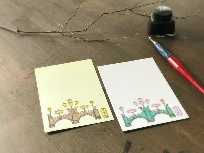 日本橋デザイン葉書は昼・夜の柄があり、絵柄部分にキラキラ光る加工が施してあります。女性男性問わず人気の商品。  ・昼2枚入価格350円+税 ・夜2枚入価格350円+税