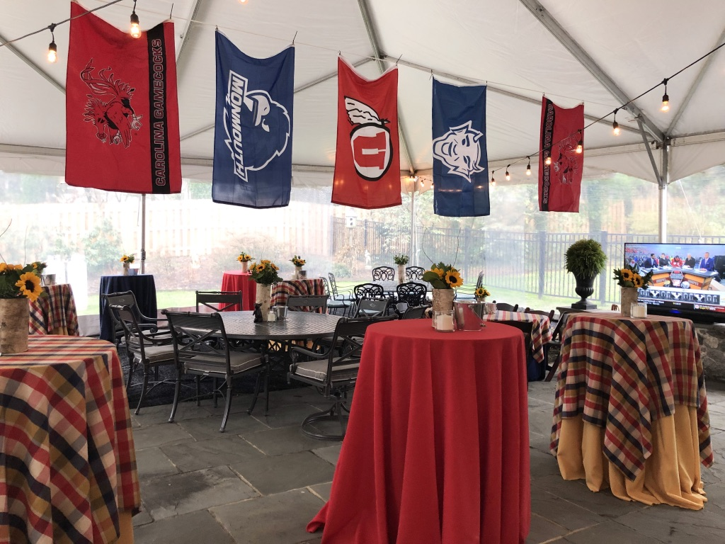 Flags Under tent