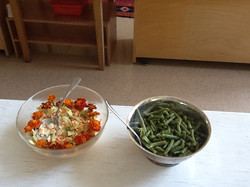 Beans & cole slaw from garden