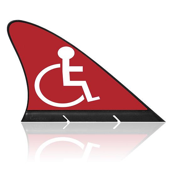 Handicap RED CARFIN, Magnetic Car Flag  &  Car Sign.