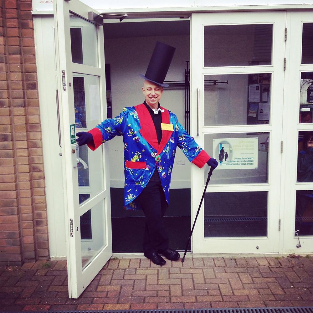 Rev Hodgson dressed as Willy Wonka