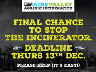 Incinerator consultation closes 13 December