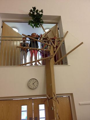 Children re-enacting the story of Zacchaeus in the tree