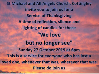 Service of Commemoration and Thanksgiving: 27 October 2019