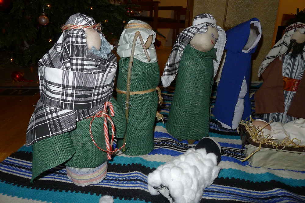 Nativity scene made from plastic bottle figures