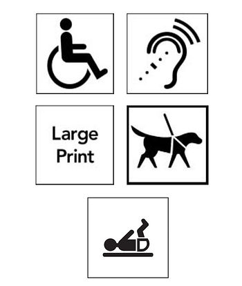 Accessinility icons, wheelchair access, hearing loop, large print, assistance dogs welcome, baby changing