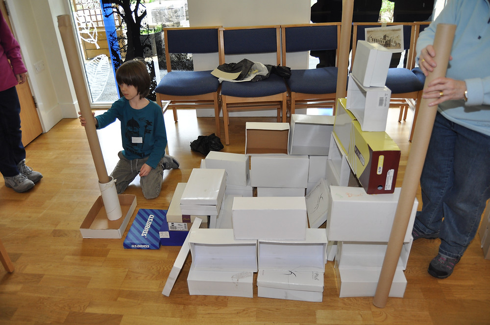 building Whitby Abbey out of cardboard boxes