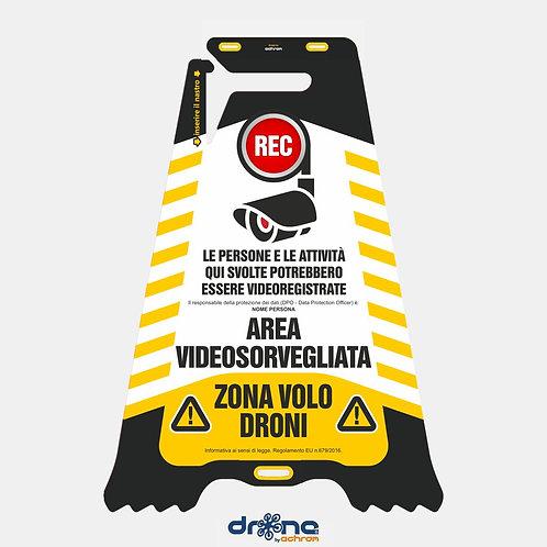 Cartello bifacciale Area Videosorvegliata - Zona Volo Droni