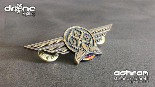 Spilla Pilota droni - UAS Pilot - ottone invecchiato - bandiera GERMANIA