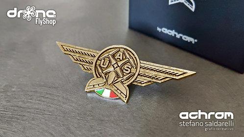 Spilla Pilota droni - UAS Pilot - doratura 18K - bandiera ITALIA