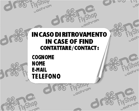 Stampa etichetta info Pilota/Operatore UAV- (x4 copie)