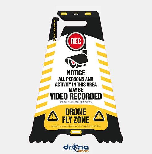 Cartello bifacciale Video Recorded - Drone Fly Zone