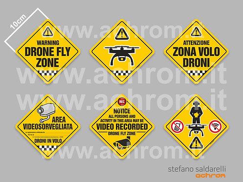 Stickers - Kit di 6 adesivi di segnalazione 10x10cm