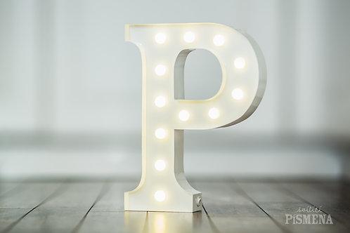 Kovové svítící písmeno P