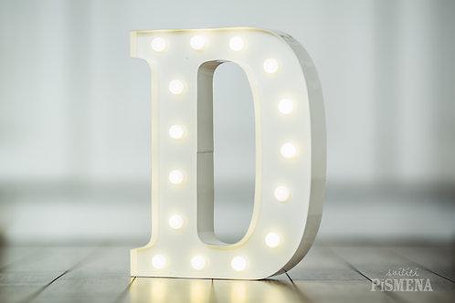 Kovové svítící písmeno D