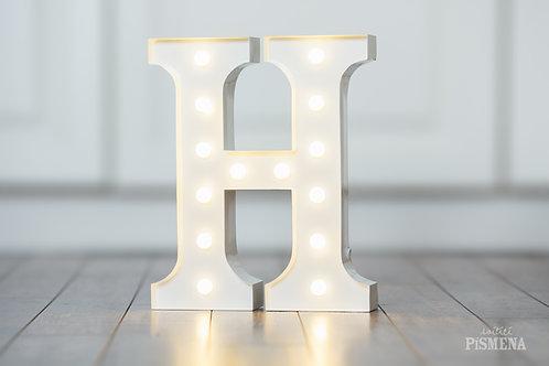 Kovové svítící písmeno H