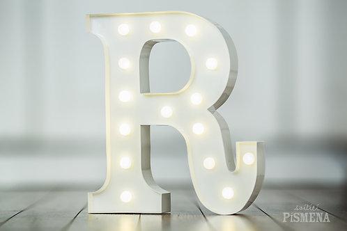 Kovové svítící písmeno R