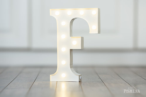Kovové svítící písmeno F