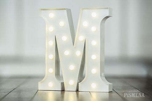 Kovové svítící písmeno M