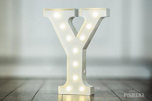 Kovové svítící písmeno Y