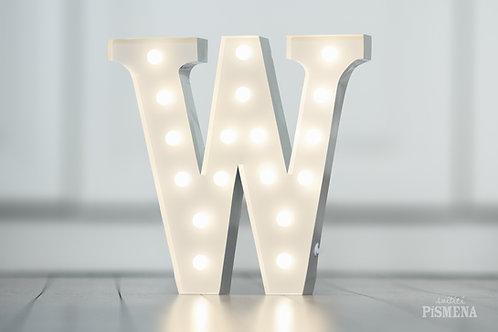 Kovové svítící písmeno W