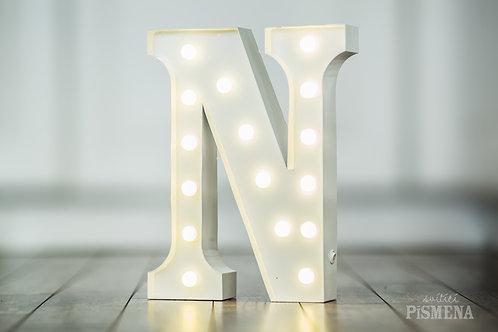 Kovové svítící písmeno N